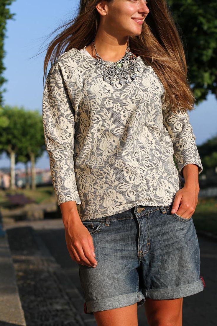 Love the dressy jean short look. Clochet grey sweater