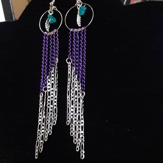 Long Sterling Silver and Purple aluminun Chains Dangle Earrings with a