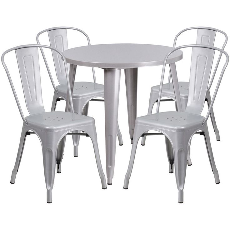 iHome Nicollet Round 30'' Silver Metal Indoor-Outdoor Table Set w/4 Cafe Chairs for Restaurant/Bar/Pub/Patio, Size 5-Piece Sets, Patio Furniture (Iron)