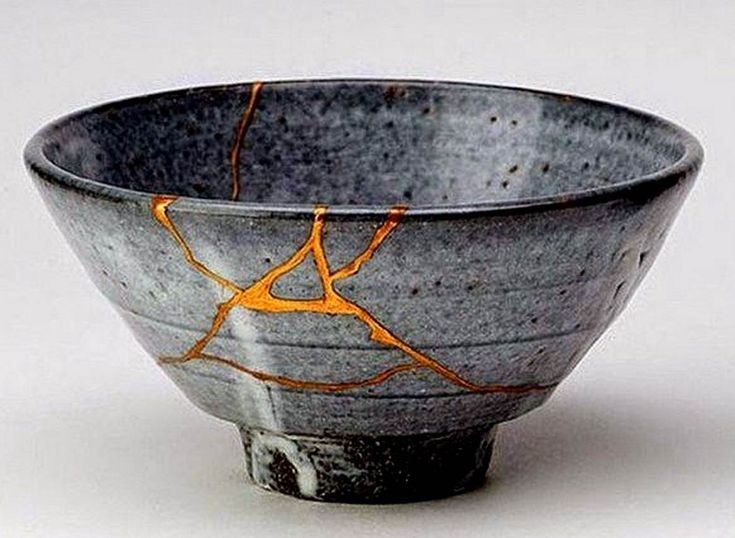 """""""Kintsukuroi"""" is the art of repairing pottery with gold or silver joining the pieces and understanding that the piece is more beautiful for having been broken."""