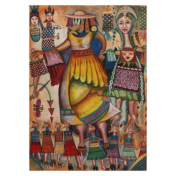 Novica Peruvian Pre Hispanic Mother And Daughters Painting 498 Liked On Polyvore Featuring Home Home European Home Decor Cubist Paintings Diy Home Crafts
