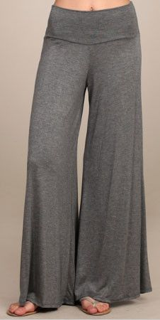 Basic Heather Gray Wide Leg Palazzo Pant