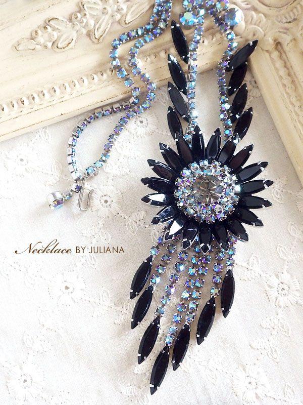 ブラックストーンのフラワービンテージネックレス JULIANA(ジュリアナ)