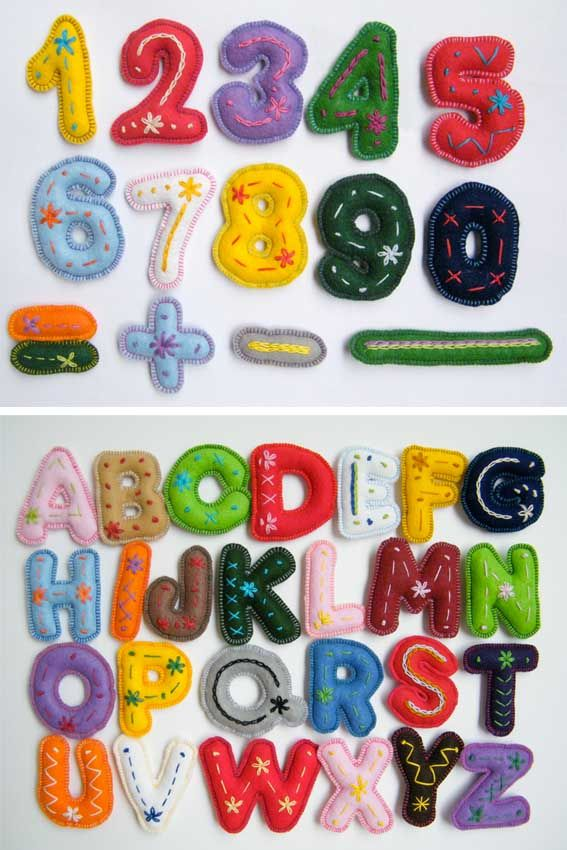 Felt numbers and letters