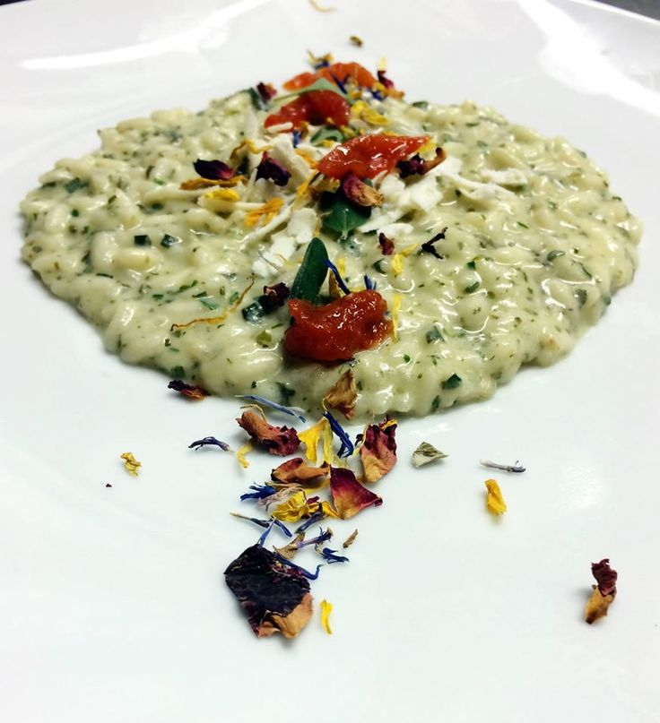 Vegetarian Risotto With Herbs and creamed with Feta Cheese
