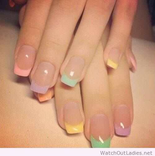 French manicure color tips