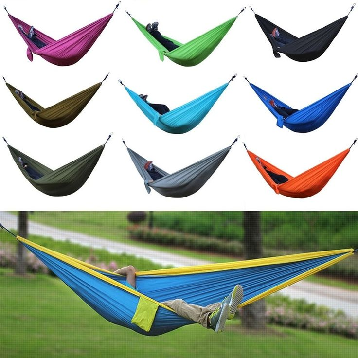 Draagbare outdoor parachute camping hangmat dubbele person nylon opknoping hangmat swing bed
