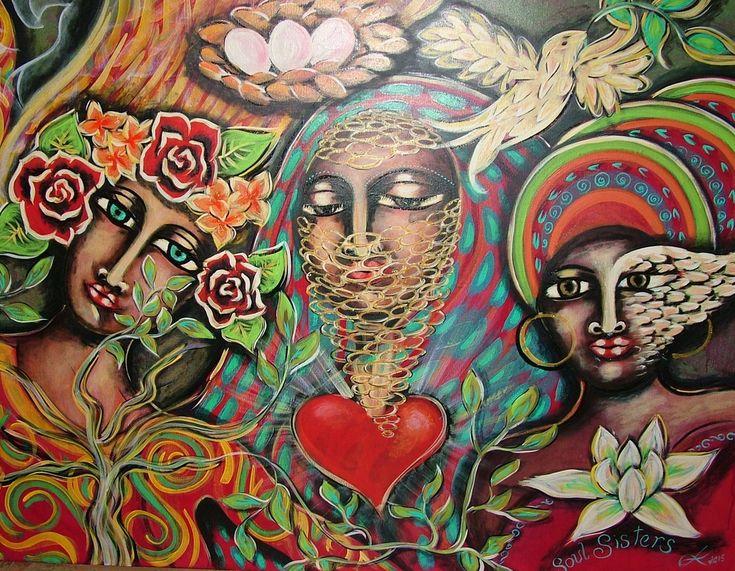 """Soul Sisters"". Painted using Intentional Creativity Method - Acrylic on canvas  ART of Sisterhood"