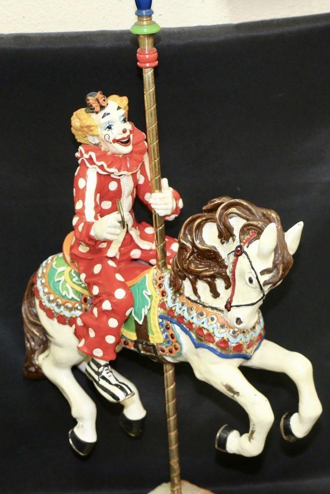 """Ron Lee 22 1/2"""" Clown Riding a Carousel horse clown statues 087"""