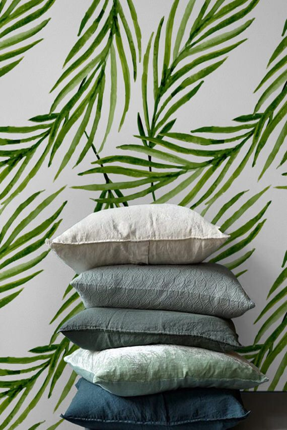Green palm leaves removable wallpaper, Tropical leaf wallpaper, Contact paper, Renters wallpaper, BW136 by BohoWalls on Etsy https://www.etsy.com/listing/470008501/green-palm-leaves-removable-wallpaper