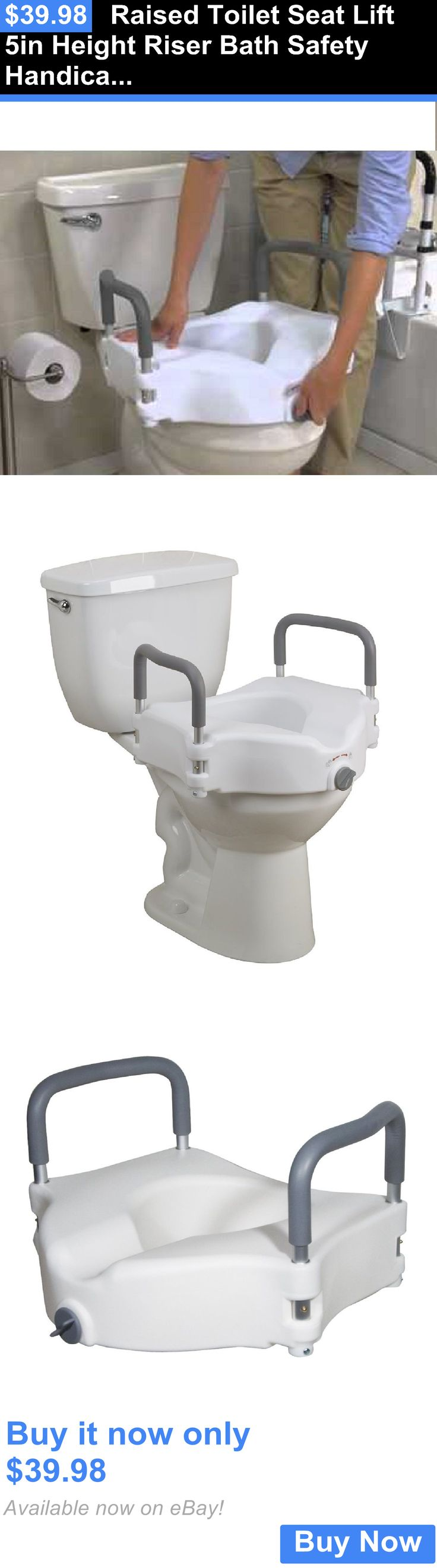 Toilet Seats: Raised Toilet Seat Lift 5In Height Riser Bath Safety Handicap W/Removable Arms BUY IT NOW ONLY: $39.98
