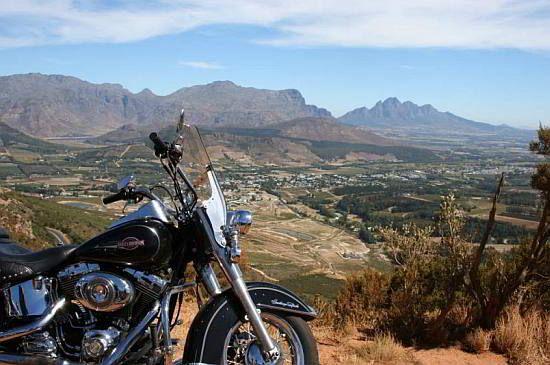View over the winelands. #harleydavidson #capetown #southafrica #roadtrip #biker
