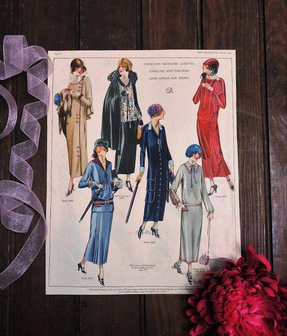 1920s Flapper Fashions Large Magazine Page Color 2 Sided Etsy In 2020 Flapper Style Fashion 1920s Flapper Dress