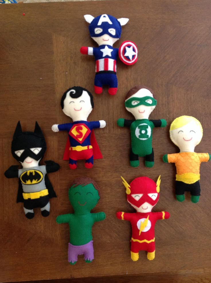 Felt Superhero dolls I made from a picture I saw on here.