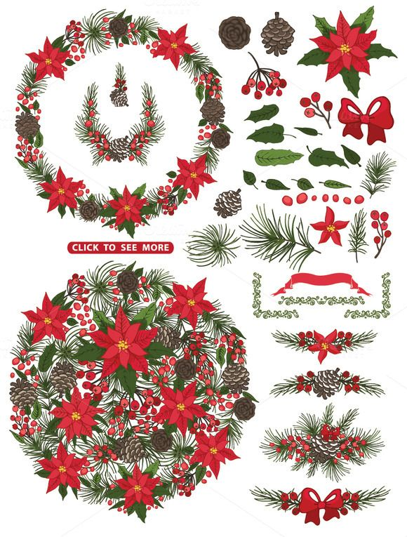 Christmas poinsettia Wreath,group2 by Tatiana Kost design on Creative Market