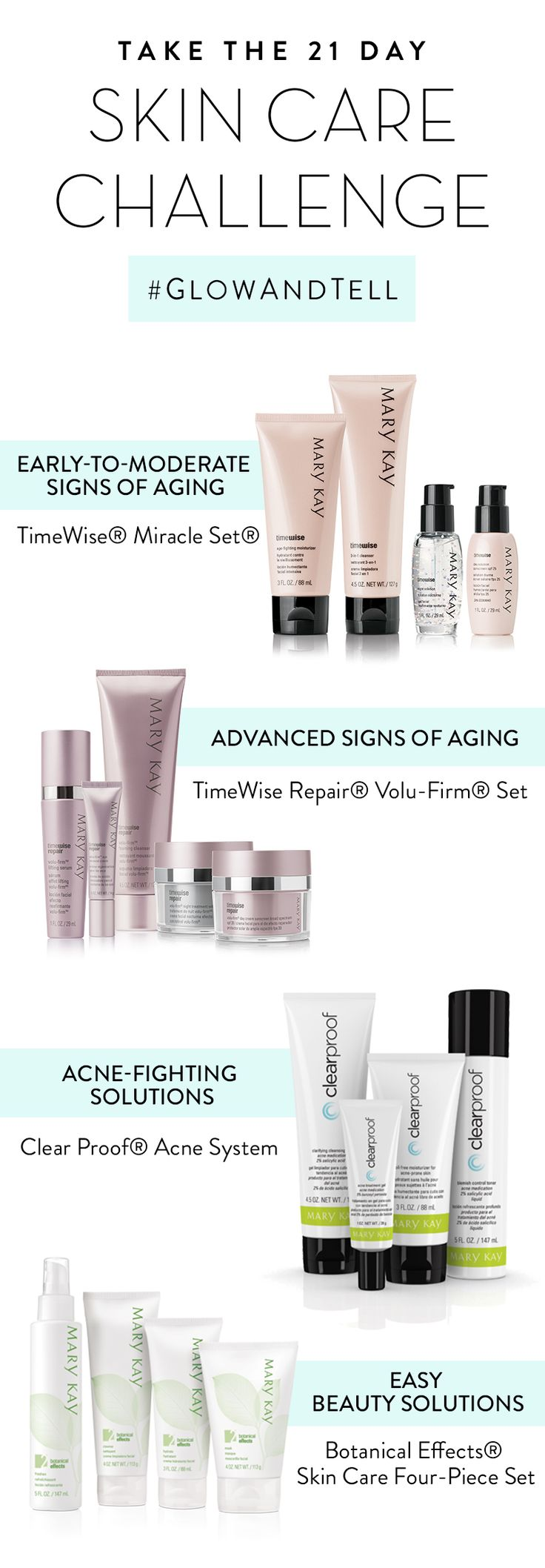 Are you ready to Glow and Tell? Take our 21-day challenge with a skin care set that's right for you: Fight signs of aging, treat your skin to botanical goodness or get clearer-looking skin and share your results! | Mary Kay