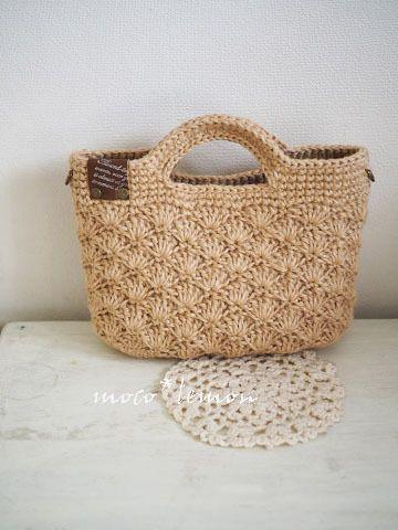 ★再々販★タッセル付き 松編み横長ミニ麻バッグ