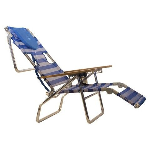 Ostrich 3 In 1 Patio Chaise Lounge Chair   Blue/White Stripe