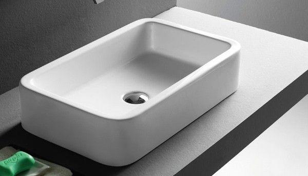 Click basin - Grosseto Modern Ceramic 58cm x 36cm Rectangular Countertop Sink £89