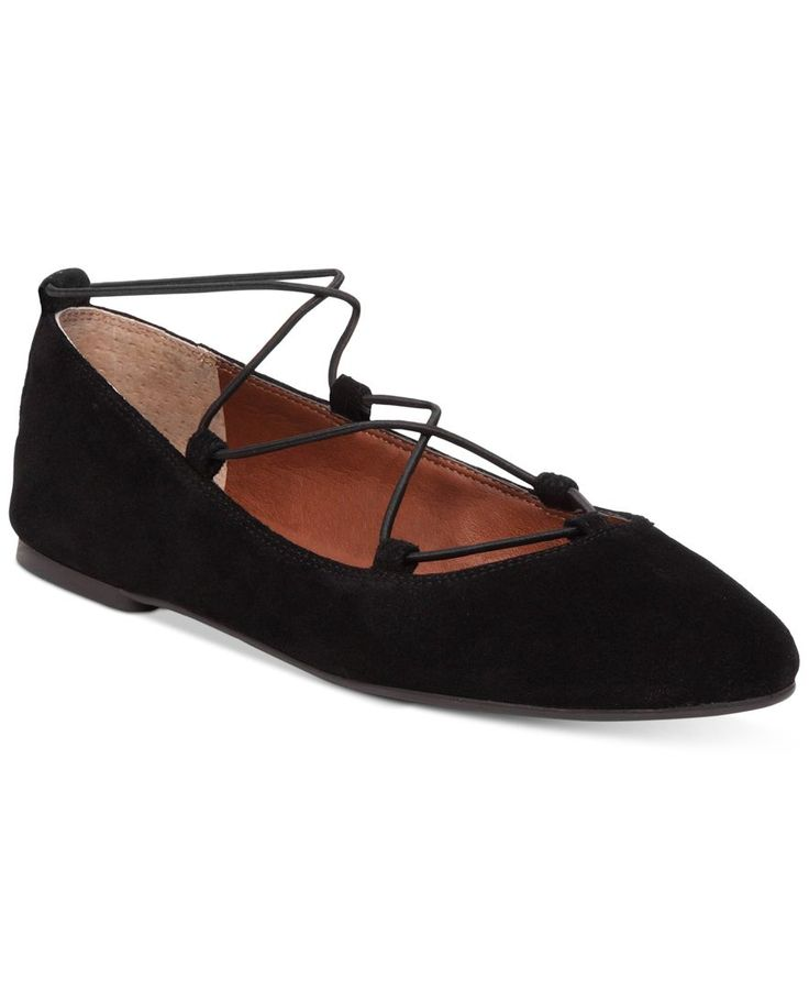 Add the charming elegance of Lucky Brand's Aviee flats to jeans or a skirt for a stylish look with chic, ghillie laces and an almond toe. | Leather or oiled suede uppers; manmade sole | Imported | Fab