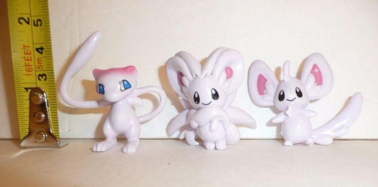 Lot of 3 Mini Pokemon Figures - Small Tiny Pocket Monsters Toys Mew Mice Mouse #Pokemon