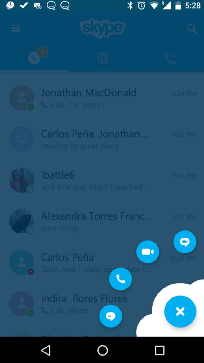 Love this new little button in the corner on skype