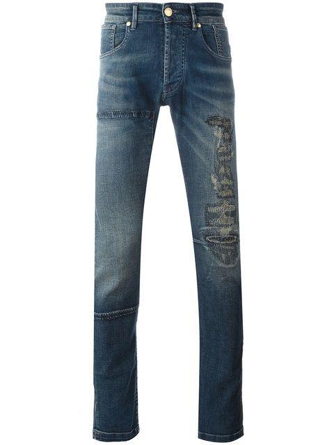 PIERRE BALMAIN Distressed Finish Jeans. #pierrebalmain #cloth #jeans