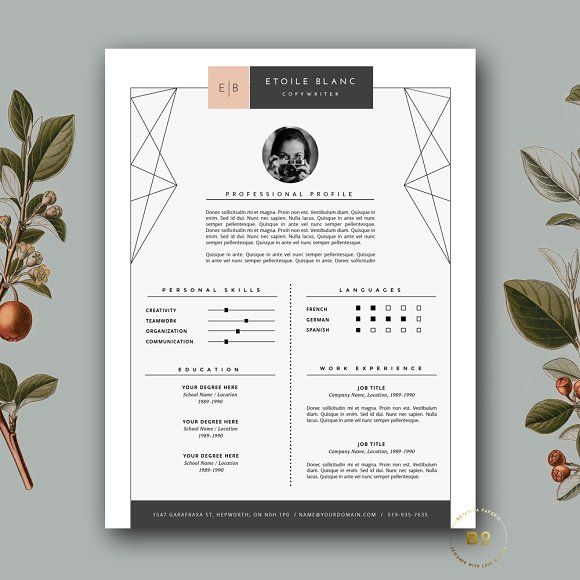 Creative Resume Template for MS Word by Botanica Paperie on @creativemarket