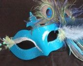 Wolf mask disguise Feather Venetian style turquoise