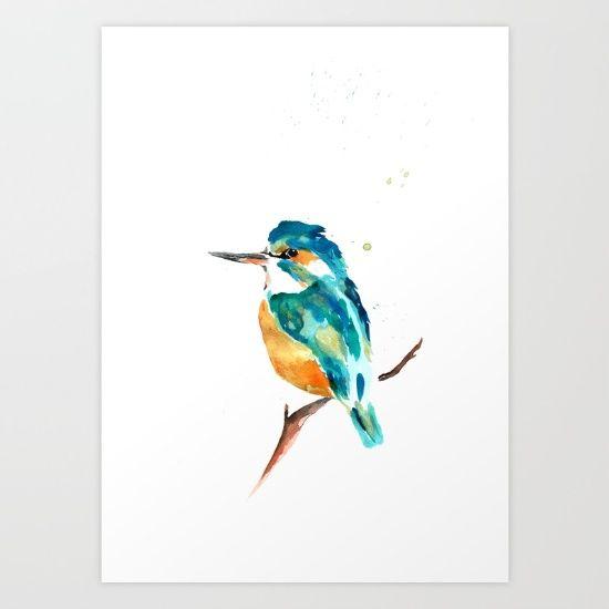 Kingfisher metallic Art Print by Art By Chrissy Taylor - $22.00