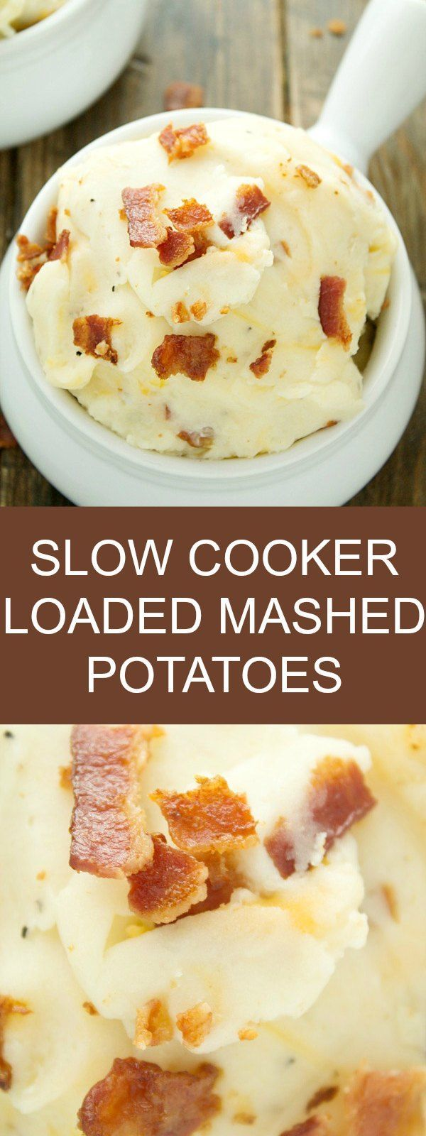 Slow Cooker Loaded Mashed Potatoes - Fluffy mashed potatoes with cream cheese as an easy side dish! Make mashed potatoes in crockpot and get on with the rest of your day. Come home at night to these oh so delicious mashed potatoes with sour cream. It's one of the best mashed potato recipes out there!