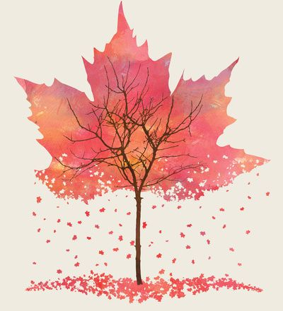 leaf tree .... maple leaf stencil with pinks and purples in watercolor  inside .... breaking up and falling as leaves .. skeleton tree printed on top ... lovely piece of art ...