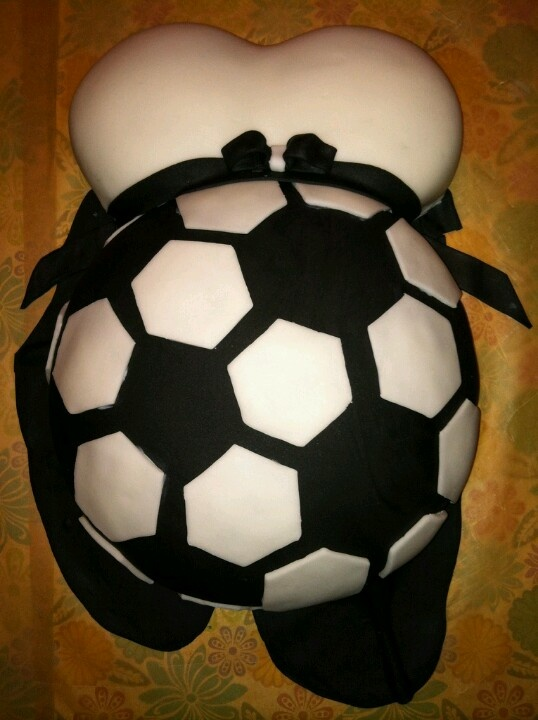 Baby Reveal Belly Cake Soccer....could definitely be done as a baseball!