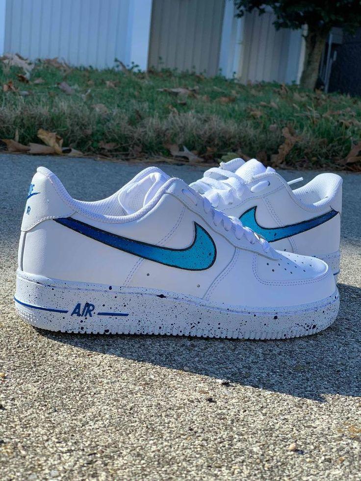 Nike Air Force 1 Custom 'Blue Splatter' Available in   Etsy   Nike ...