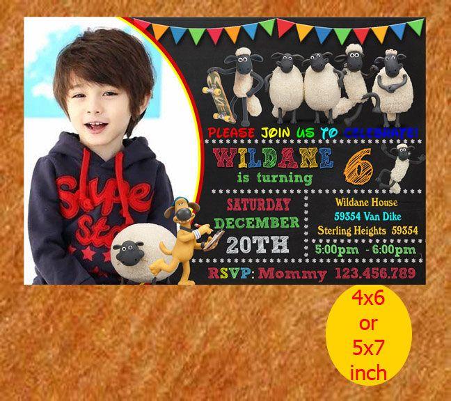 Shaun The Sheep Birthday Invitation, Shaun The Sheep Invitation, Shaun The Sheep Birthday, The Sheep Party, Printable, Instant Download by MondaBirthdayArt on Etsy