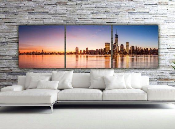 Sunset On New York City Canvas Art Large Canvas Wall Art New Etsy In 2020 City Canvas Art Large Canvas Wall Art Large Canvas Artwork