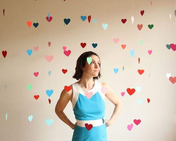 floating heart backdrop! (clear fishing line, heart punch, card stock, regular and painter rape, and scissors); 20 garlands, six hearts each