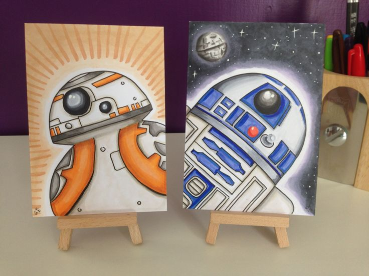 BB-8 and Artoo. A6-size marker cards, hand drawn and inked with Copic markers. BB-8 is already a fan favourite, and Star Wars: The Force Awakens hasn't even hit cinemas yet!