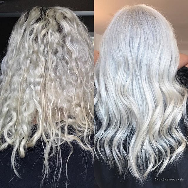 B E F O R E & A F T E R 💫 . . Leah booked an appointment with me because at her current salon, they were not using any sort of bond builder/protector and she knew I used it nearly on every client-- Her hair was already super light, this before pic is the photo she sent me- it doesn't show in the before photo but it had an almost slightly greenish cast with purple shampoo build-up with some warmer areas- and her roots were about an 1 1/4 inch grown out, level 4/5. She wanted brighter if…