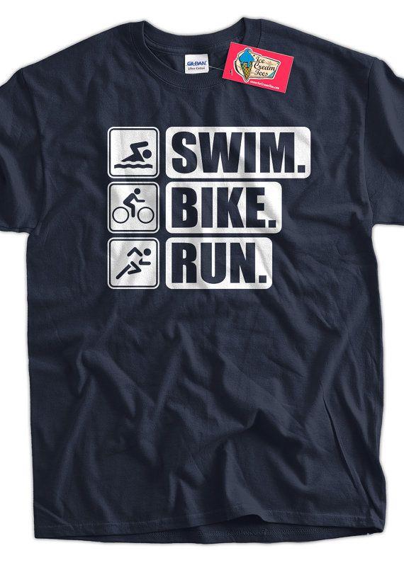 Funny work out t shirt athlete triathlon t shirt swim bike for Work t shirt printing