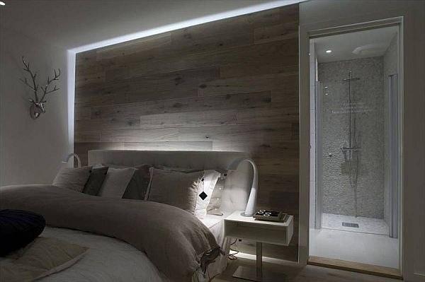 Norwegian bedroom with wooden wall 2
