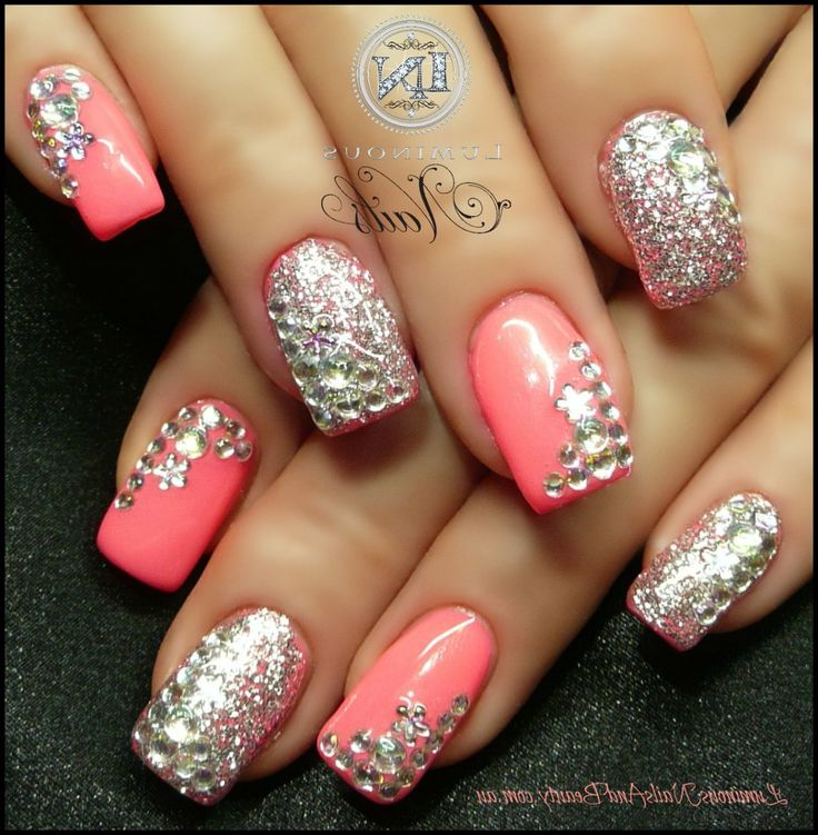 Silver Nail Designs For Prom: Silver Glitter Acrylic Nail Designs