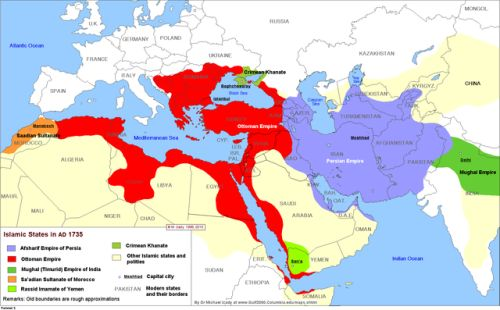 The major Muslim empires and states in the year 1735 AD.