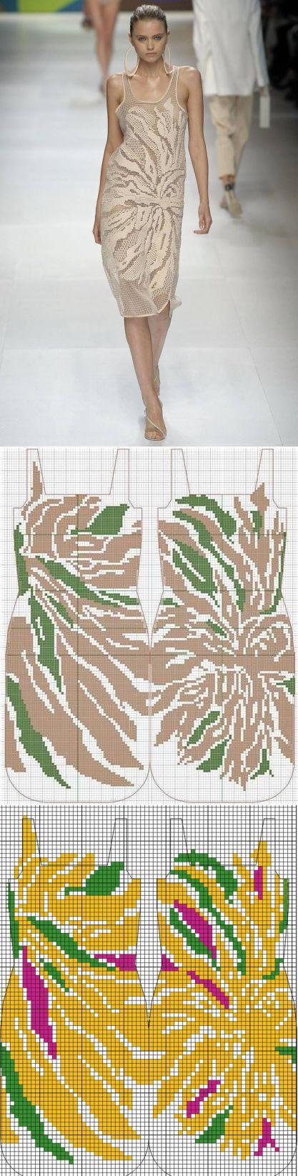 Филейное платье с подиума вязаное крючком | Домоводство для всей семьи.
