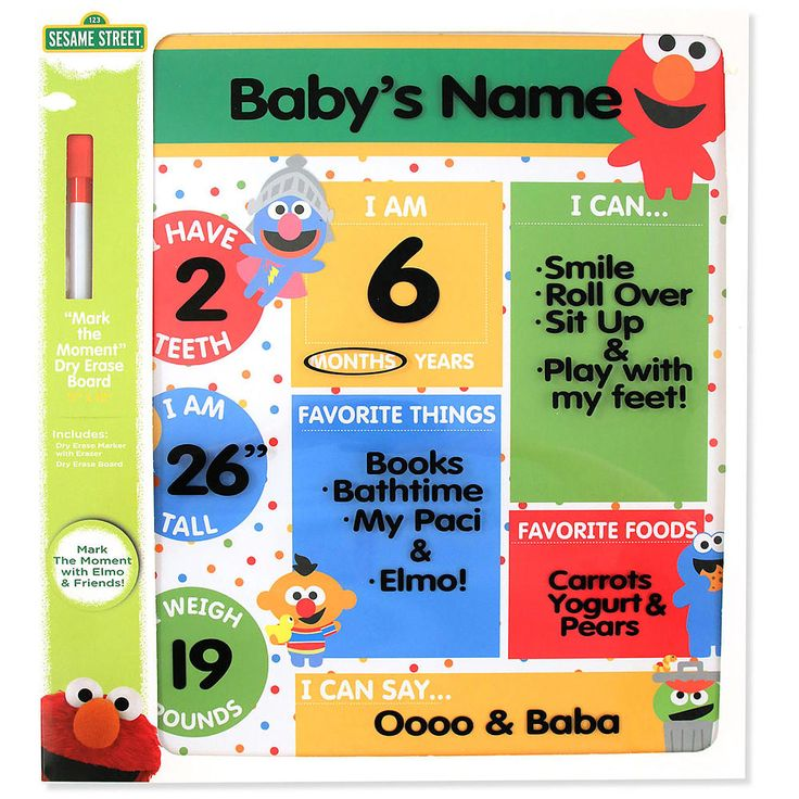 Mark your baby's moments with this Sesame Street Elmo dry erase board. This board includes the dry erase marker in the packaging. Remember all the highlights by marking this Elmo dry erase board as your baby begins to grow. Share all of your milestone moments with your family and friends to enjoy.<br><br>With Sesame Street toys, games, play sets, books and more, your children can enjoy the magic of Sesame Street anytime they please. Like the show, these items engage and entert...