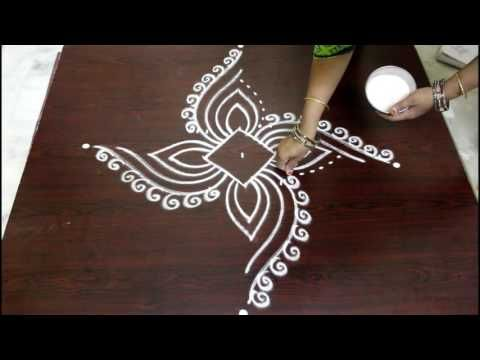 muggulu designs with 5 to 3 interlaced dots - rangoli art designs - simple kolam - YouTube