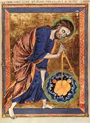 """Enluminure d'un manuscrit de Bible : une représentation de la périphrase """"Le Grand Arpenteur""""."""