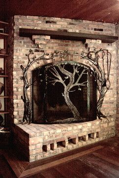 Tree fireplace screen and tools. Love the way the tools are incorporated into the design.