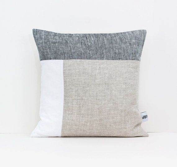 Color Block Pillow in Dark Gray White and Beige by LinenandStripes