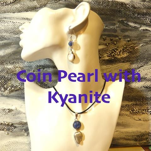 Kyanite Gemstone with Freshwater Pearl | 925 Sterling Silver | Baroque Coin Pearls | Crystal Heart Melbourne since 1986